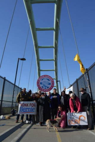 California Progressive Alliance Annual Meeting 2020 - Bannering for Bernie